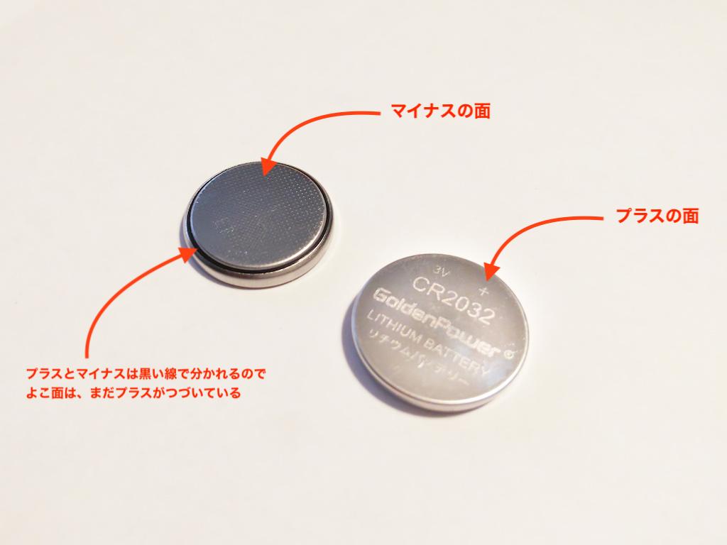 電池のプラス面とマイナス面