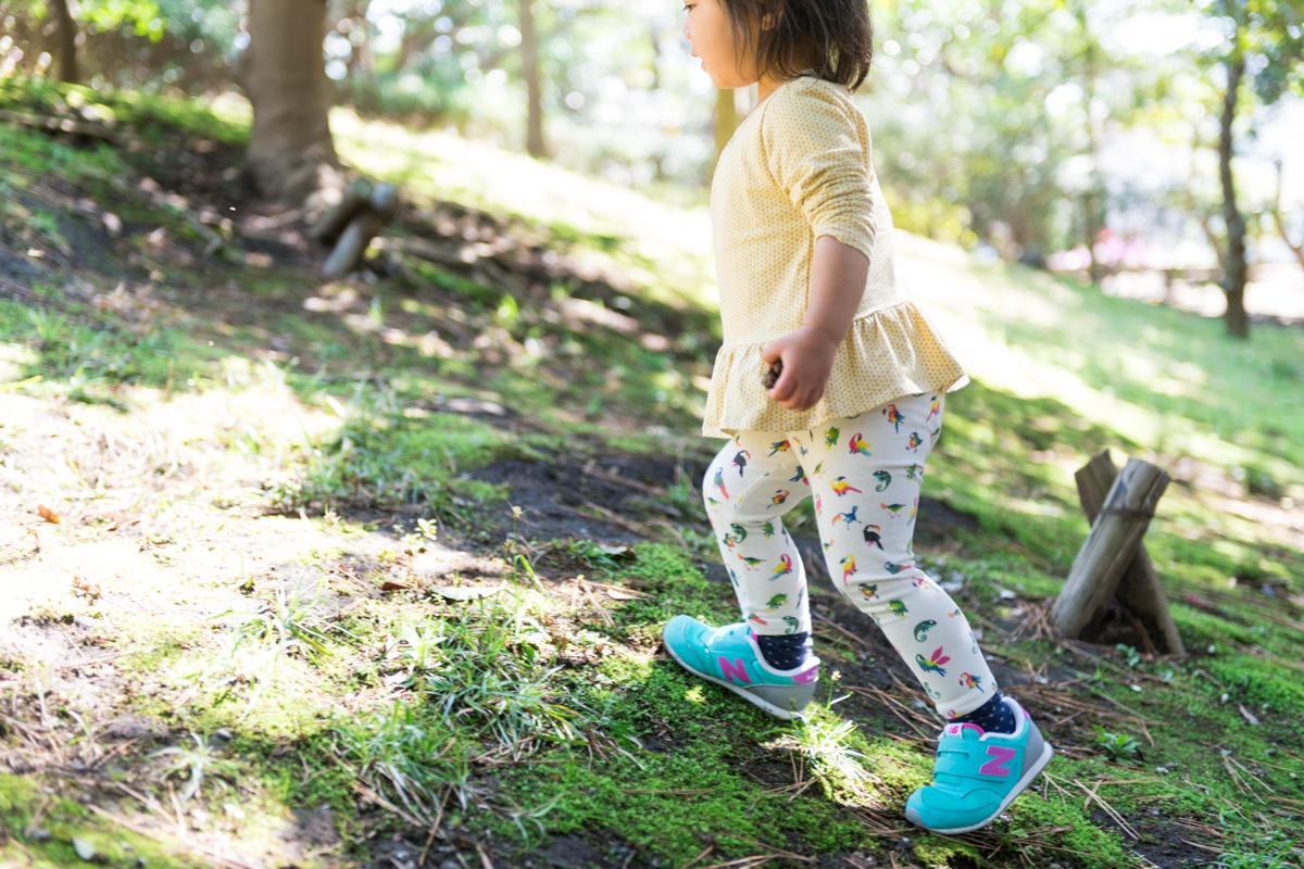 松ぼっくりを握ったまま緑地の坂を上り下りする